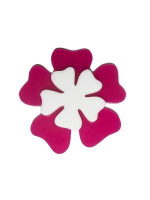 Брошь  Фиолетовый цветок Сплетница. Цвет: фиолетовый, белый