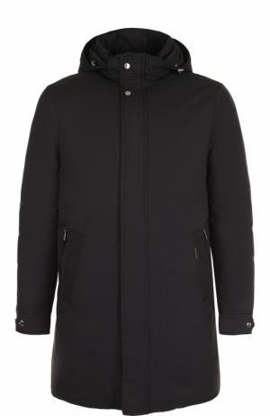 Пуховое пальто прямого кроя Moorer. Цвет: черный