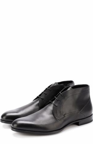 Кожаные ботинки с внутренней меховой отделкой Barrett. Цвет: черный