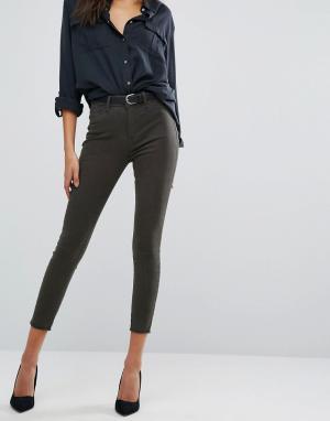 DL1961 Супероблегающие укороченные джинсы с завышенной талией Jessica. Цвет: зеленый