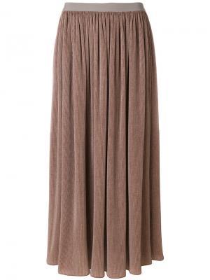 Вельветовая юбка-макси Giorgio Armani. Цвет: телесный