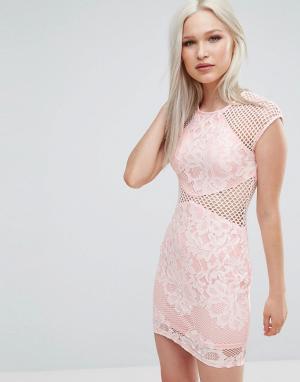 AX Paris Облегающее платье с сетчатыми вставками. Цвет: розовый