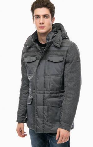 Серая утепленная куртка с капюшоном NAVIGARE. Цвет: серый