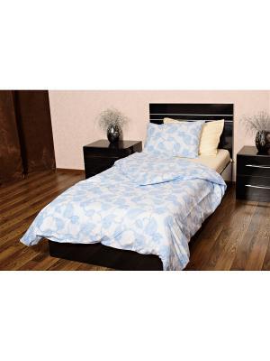 Комплект постельного белья Текстильно. Цвет: белый, голубой