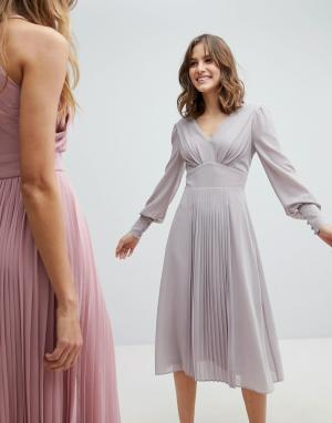TFNC Платье миди с длинными рукавами и юбкой плиссе WEDDING. Цвет: серый