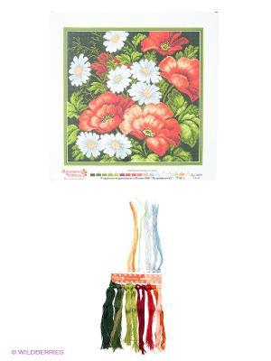 Набор для вышивания Маки с ромашками Матренин Посад. Цвет: зеленый, белый, красный