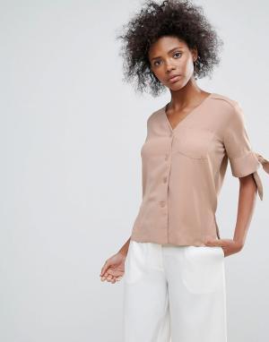 Neon Rose Рубашка с завязками на рукавах. Цвет: коричневый