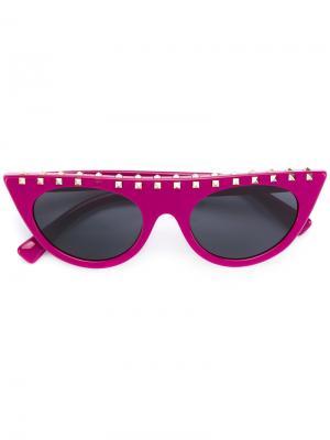 Солнцезащитные очки с заклепками Valentino Eyewear. Цвет: розовый и фиолетовый