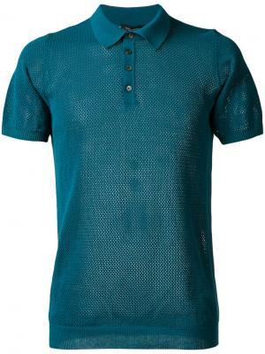 Сетчатая футболка-поло Roberto Collina. Цвет: зелёный