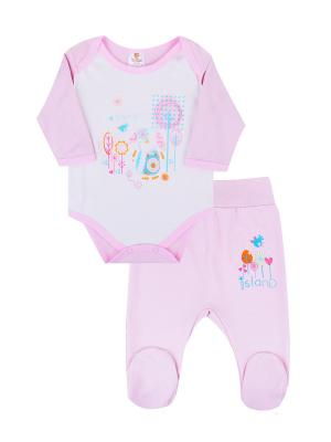Комплект одежды: боди, ползунки Коллекция Розовые слоники КОТМАРКОТ. Цвет: розовый