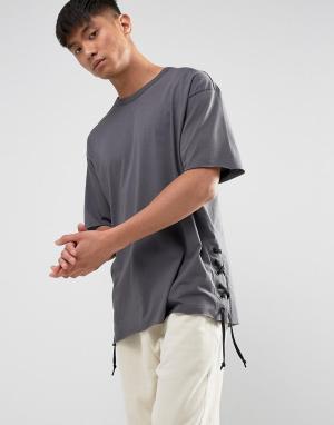 New Look Серая футболка со шнуровкой по бокам. Цвет: серый