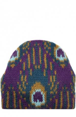 Вязаная шапка с узором Tak.Ori. Цвет: фиолетовый