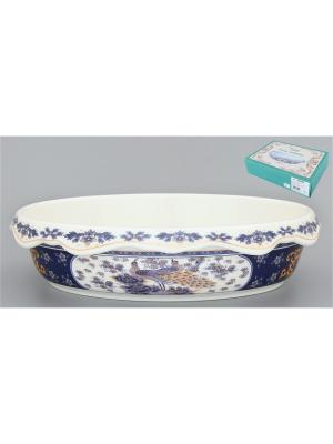 Блюдо-шубница Павлин синий Elan Gallery. Цвет: белый, синий