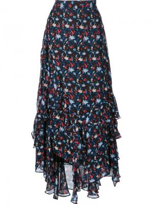 Ruffle detail floral print skirt Tanya Taylor. Цвет: чёрный