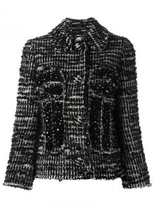 Твидовый приталенный жакет Simone Rocha. Цвет: чёрный