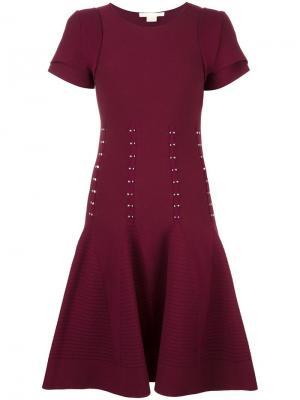 Расклешенное платье с короткими рукавами Antonio Berardi. Цвет: красный