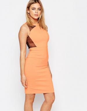 Vesper Платье-футляр с контрастными вставками Connie. Цвет: оранжевый