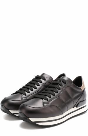 Кожаные кроссовки на шнуровке Hogan. Цвет: черный
