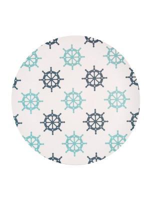 Набор тарелок обеденных Нэви Хелм Ecowoo. Цвет: белый, голубой