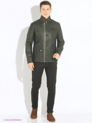 Кожаная куртка VESIVIO. Цвет: темно-зеленый