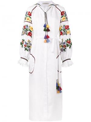 Платье букле с цветочной вышивкой Vita Kin. Цвет: белый