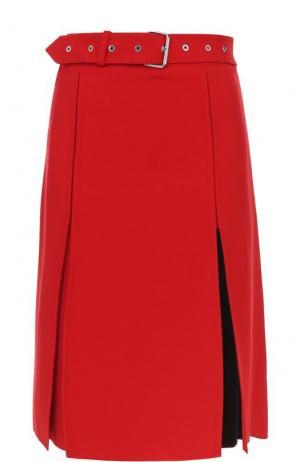 Шерстяная юбка-миди с поясом Helmut Lang. Цвет: красный