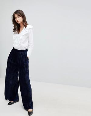 J.O.A Бархатные плиссированные брюки с широкими штанинами. Цвет: темно-синий