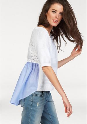 Пуловер Aniston. Цвет: белый/светло-синий в полоску