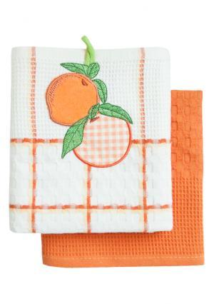 Набор вафельных полотенец (2 шт.) BONITA. Цвет: белый (белый, оранжевый)