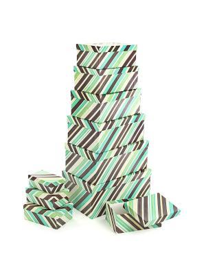 Набор из 10 прямоугольных коробок 12*6,5*4-30,5*20*13см, Полосатое настроение VELD-CO. Цвет: бирюзовый, терракотовый