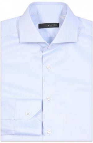 Приталенная сорочка с воротником акула Stanbridge. Цвет: голубой