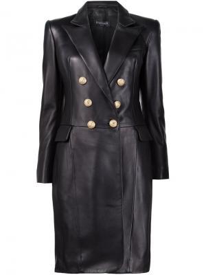 Двубортное пальто Balmain. Цвет: чёрный