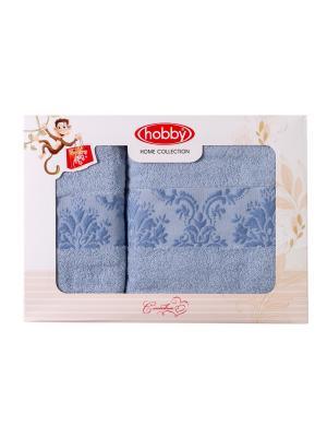 Махровое полотенце в коробке 50x90+70x140 RUZANNA ,голубое,100% хлопок HOBBY HOME COLLECTION. Цвет: голубой
