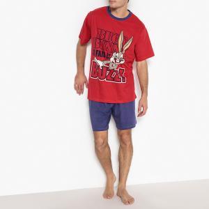 Пижама с шортами, короткие рукава и рисунок BUGS BUNNY. Цвет: красный/ темно-синий