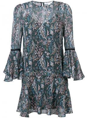 Короткое платье с цветочным принтом Veronica Beard. Цвет: синий