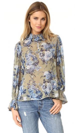 Блуза с изображением букета цветов оборчатым воротником Robert Rodriguez. Цвет: цветочный рисунок на фоне каменного цвета
