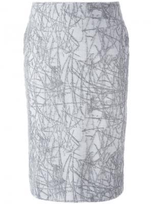 Юбка-карандаш с узором Cristiano Burani. Цвет: серый