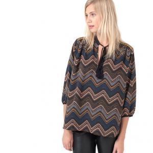 Блузка с рукавами 3/4 и оригинальным рисунком ANETTE AN'GE. Цвет: темно-синий/ оранжевый
