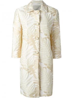 Жаккардовое пальто с растительным принтом Ermanno Scervino. Цвет: телесный