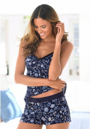 Пижама с шортами s.Oliver. Цвет: темно-синий в цветочек