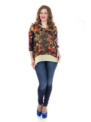 Блузка Liza Fashion. Цвет: черный
