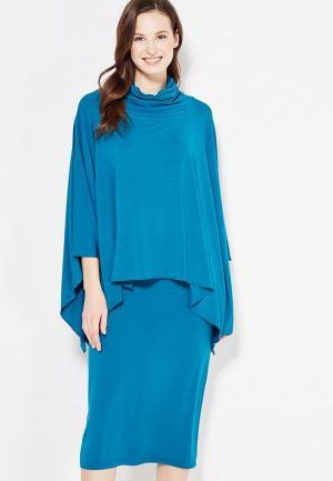 Комплект платье и пончо Adzhedo. Цвет: синий