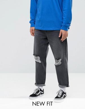 ASOS Черные выбеленные джинсы с рваной отделкой. Цвет: черный