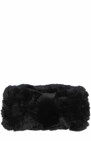 Повязка из меха кролика Yves Salomon. Цвет: черный