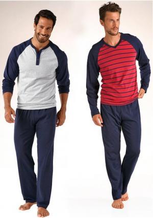 Пижама, 2 штуки LE JOGGER. Цвет: серый меланжевый+красный