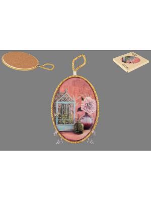 Подставка под горячее Натюрморт с пионом Elan Gallery. Цвет: сиреневый, зеленый, голубой