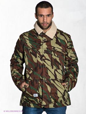 Куртка Addict. Цвет: темно-зеленый, коричневый, бежевый