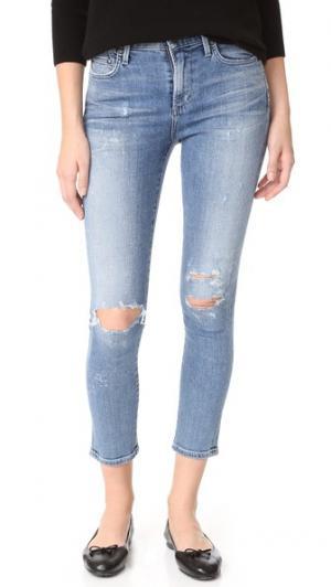 Укороченные джинсы Rocket с высокой посадкой Citizens of Humanity. Цвет: голубой