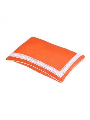Подушка Кедровое очарование ORANG с пленкой кедрового ореха, чехол лен Размер:  40х60 BIO-TEXTILES. Цвет: оранжевый