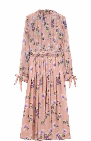 Шелковое платье-миди с цветочным принтом MSGM. Цвет: розовый